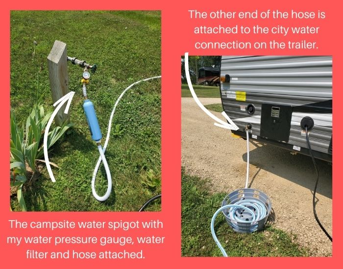 Jayco 145rb City Water Connection. Water Filter. Water pressure gauge.