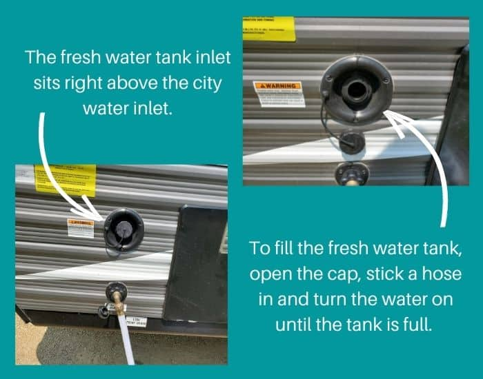 Jayco 145rb fresh water tank inlet vs city water connection